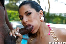Dick-sucking Latina Rose gives head for this big black wiener