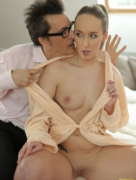 Alluring blonde lets her future father-in-law fuck her hard and raw
