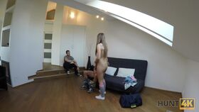 Brunette amateur strips, sucks dick and gets her twat railed on casting couch