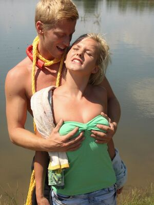 Young Busty - Hot blonde girlfriend gets peeled and poked doggystyle with outdoor cum facial