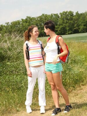 Young Busty - Hot young lesbian hikers pause on the path for naked outdoor pussy licking