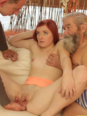 Daddy 4K - Cute redhead Vanessa gets her cunt fingered by her stepdad and BF in threesome