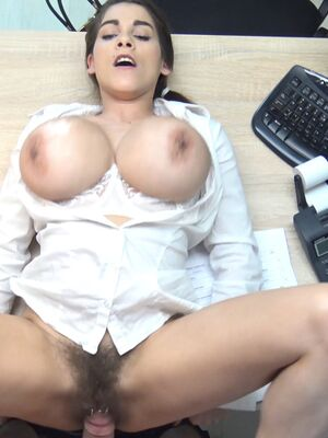 Loan4K - Busty amateur Mischel exposes her monster tits before riding a dong at work
