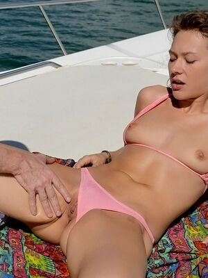 Captain Stabbin - Big tit brunette with a hot ass giving a blowjob and gets cum on face